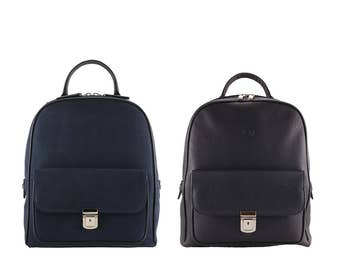 Leather backpack KATLYN, JOE // navy deep blue, suede or pebble grained (Italian calf leather) - FREE shipping, unique bag