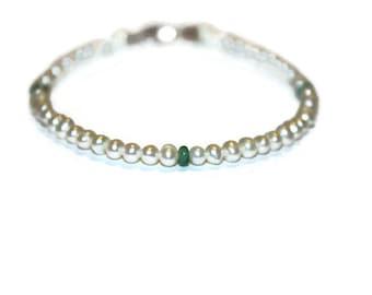 Vintage Sterling Freshwater Pearl Emerald Bracelet 7.75 inches