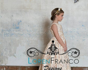 Ivory Dress - Couture Girls Dress - Ivory Dress - Champagne Dress - Flower girl Dress