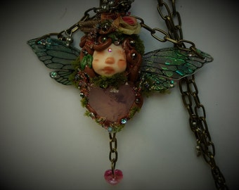 sweet  ooak fairy fairie necklace  with rose quartz   crystal heart with swarovski suncatcher crystal heart