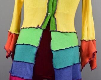 UNIQUE UpCycled  Mini Sweater Frock Coat. Ready to Ship. UK Seller. Ship Worldwide.Festival Clothing