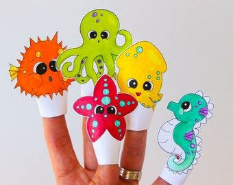 Printable Sea Critter Finger Puppet Set.  Digital File.