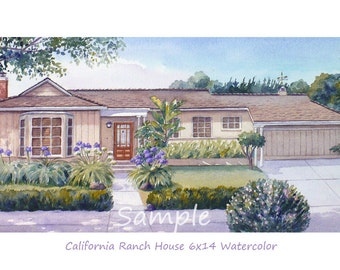Custom home portrait, Watercolor house painting from photos, Art commission, Housewarming gift artwork by Janet Zeh Original Art