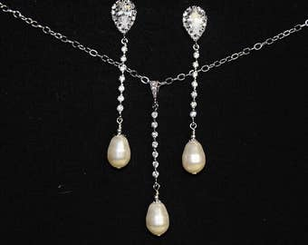 Pearl Bridal Jewelry Sets Pearl Necklace and Earring Set Wedding Jewelry Set Swarovski Pearl Drop Earrings Swarovski Pearl Pendant Necklace