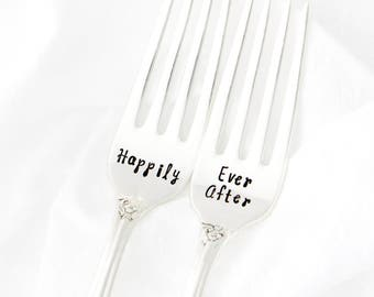 Happily Ever After Table Setting, hand stamped wedding forks for unique engagement gift.