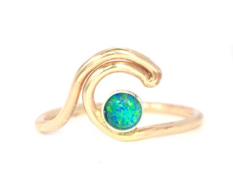 Micro Reef Opal Wave Ring- Gold or Sterling. Tropical Ocean Wave Ring.