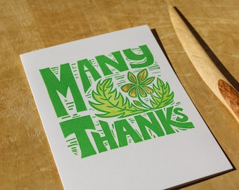 single hand printed card, many thanks, thank you, floral, linocut, green