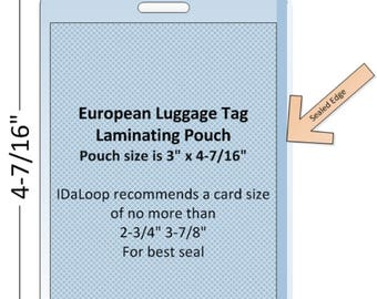European Luggage Tag Laminating Pouch, Slotted (7 MIL)
