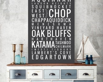 Martha's Vineyard - Cape Cod, Massachusetts - Typography Print