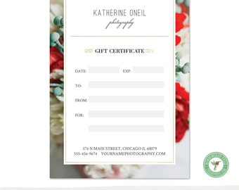 5x7 Digital or Print Gift Certificate, Gift Card, Photography Gift, One-Side, Single-Side, TEMPLATE - GC9