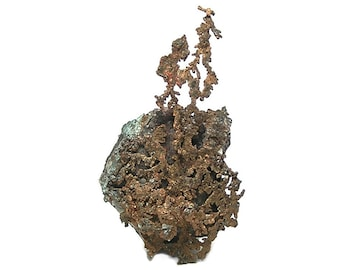 """Native Copper on Rock Matrix, Arizona Natural Copper Arborescent Mineral Specimen, Red Metal """"Lace"""" mined at Ray Mine Collector Display Gem"""