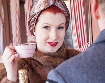 Vintage Style Gift for Mom Fashion Turban - Carmen Miranda Turban - Women's Head Wrap - Pinup Style Turban - Peach Satin and Polka Dot Net