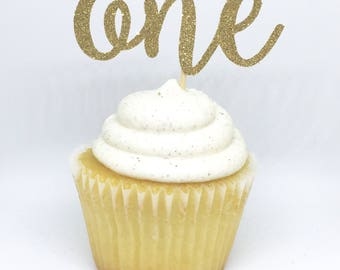 12 Gold Glitter ONE cupcake toppers, 1st Birthday, Gold Food Pick or Cake Topper, First Birthday, Birthday Cupcake Topper, Number Topper