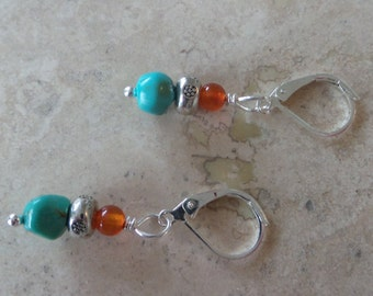 Turquoise and Red Agate Bead Earrings