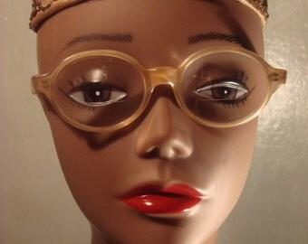 Vintage 1960s Oval Cream Color Eye Glasses