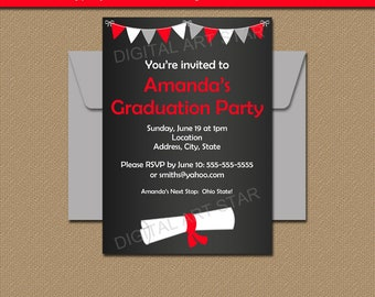 Chalkboard Graduation Invitation, PRINTABLE Graduation Party Decorations, High School Graduation Party Ideas, Diploma Invitation Download G7