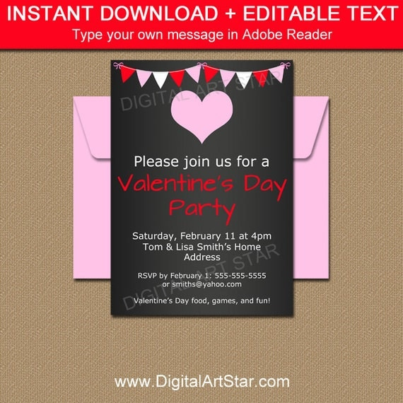 Chalkboard Valentine Invitations  Editable Valentines Day