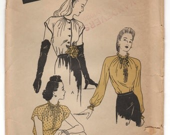 "1940's Butterick Blouse in two styles - Bust 32"" - No. 2959"