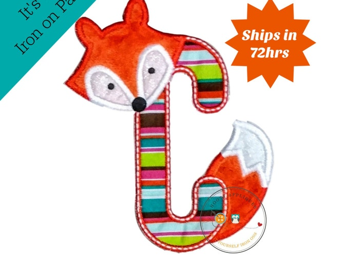 Woodland fox letter C machine embroidered iron on no sew patch, fox embroidered monogram letter c, ready to ship