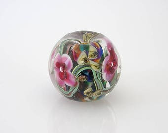 Small Lampwork Glass Encased Floral Bead