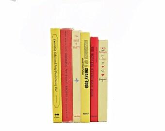 Cookbook Set, Yellow Books, Old Cookbooks, BOok , Decorative Books, Red Kitchen Decor, Interior Design, Cook Book Collection