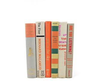 IVory Tan Antique Books, Beige Orange  Decorative Books, Wedding Centerpiece, White Book Decor, Old Book Set, Book Collection, Marriage