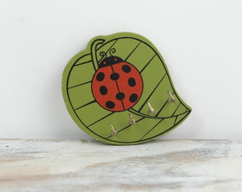 Vintage Wall Mount 1970s Lady bug / Leaf Key Holder