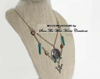 Western Longhorn Turquoise Silver Necklace..Turquoise Howlite & Picture Jasper Beads..MultiChain Gemstone Silver Necklace