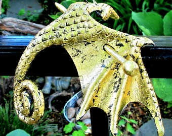 Gold Leather Dragon Stick Barrette, Medium Glittery Wyvern Hair Stick, Handcrafted Sparkling Foiled Amphiptere Slide  (Medium) (B256M)