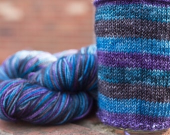 Self Striping Yarn / Hand dyed in Pisces Colorway / Zodiac Inspired Color / Superwash Merino and Nylon Fingering /
