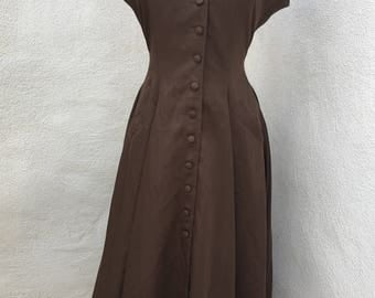 Vintage Morgane Le Fay brown dress sz 6/8 pockets button front sleeveless