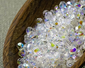 Small Czech Fire Polished Crystal Clear Beads 4mm (50) Polish Faceted Transparent AB 4mm Czech beads