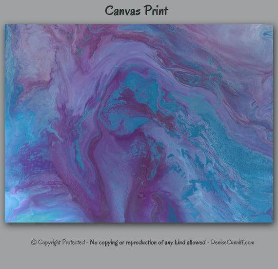 Plum Purple Grey Painting Kitchen Canvas Pictures: Purple Blue Abstract Canvas Print Large Wall Art Plum Grey