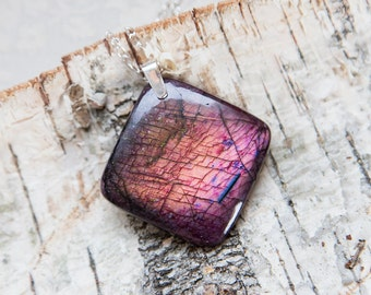Reddish pink flashy labradorite pendant, huge square stone, spectacular flashy labradorite pendant, very large gorgeous stone