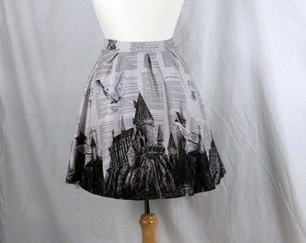 Harry Potter Skirt featuring my Artwork of Hedwig flying over Hogwarts School of Witchcraft and Wizardry Dress Clothing