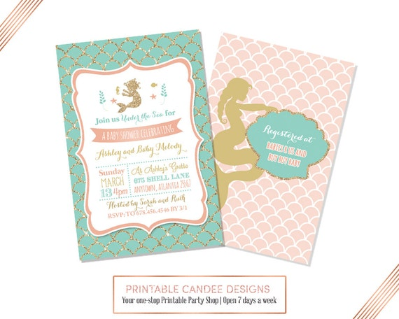 Mermaid Baby Shower Invitation, Mermaid Baby Shower, Coral Teal Baby Shower, Under the Sea Invitation, Printable Invite