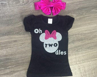 FREE SHIPPING!  Minnie Mouse Birthday Outfit, Minnie Mouse Birthday Shirt, Minnie Mouse 2nd Birthday Shirt, Girls 2nd Birthday Shirt