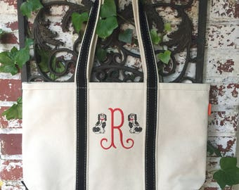 Monogrammed Boat Tote Bag - Medium Sized Monogrammed Boat Tote - Monogram Tote Bag - Monogrammed Tote Bag - Book Club Bag - Teachers gift