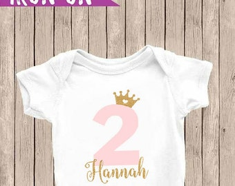 Personalized Second Birthday Outfit, Two Shirt, Second Birthday Shirt, Second Birthday Iron-On, Pink and Glitter Gold, Birthday Iron On