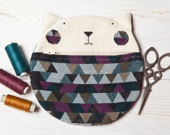 Cat Wallet, Geometric Cosmetics Bag, Best Cat lover gift, Cat Bag, Multi Color Makeup Bag, Christmas gift for woman, Cat Zipper Pouch
