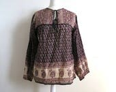 RESERVED : Pakistani Block Printed Blouse, Tunic, Beige Black Red Floral & Paisley Print, Cotton Gauze, Long Sleeve Free Fit Top M/L