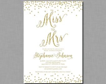 Gold Miss to Mrs Invitation bridal shower glitter Amelia BR52 Digital or Printed