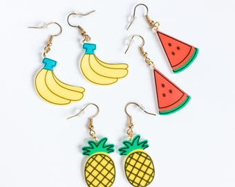 Vintage fruits earrings banana pineapple water melon-kawaii earrings-retro funky rock earrings-70's 80's 90's-kitschy earrings-love factory