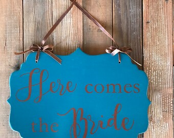 Double Sided Wedding Sign-Wedding-Here Comes the Bride-And They Lived Happily Ever After-Customize to your wedding colors-11x15""