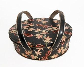 Vintage Oval Tin Box - Black Floral Tin - Tin Box with Handles - Decorative Box - Storage - Trinkets - Sewing Box - Cookie Tin
