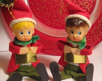 Vintage Christmas Caroling Elves - Vintage Caroling Christmas Elves - Vintage Elf Sitters Made in Japan