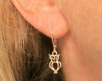 Gold OWL Earrings solid 14k hoot owl recycled gold leverbacks handmade in USA