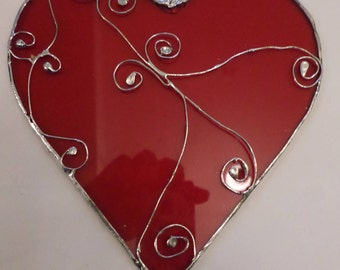 Stained glass heart, suncatcher,  wall hanging, gift idea.
