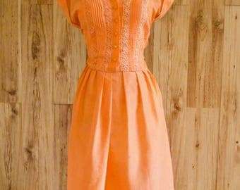 1960s Semi Sheer Orange Shirtwaist Dress, Embroidered & Pleated Bodice, Dress w/ Mandarin Collar and Cuffed Sleeve, Plus Size Fit and Flare
