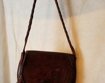 LARGE Vintage 70s Tooled Leather Patina Butterfly Sunshine Flowers Indie Groovy Hipster Hippie Fashion Purse Handbag Bag